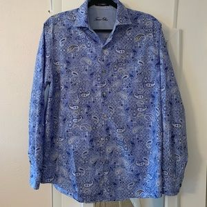 Men's Tasso Elba Blue and White Dress Shirt